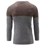 cheap Crew Neck Color Block Textured Sweater