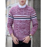 Crew Neck Stripe Design Knit Blends Long Sleeve Sweater