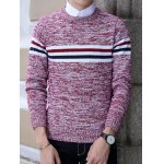 cheap Crew Neck Stripe Design Knit Blends Long Sleeve Sweater
