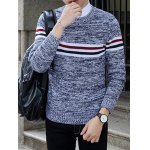 Crew Neck Stripe Design Knit Blends Long Sleeve Sweater for sale