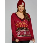 cheap Christmas Elk Plus Size Graphic Sweater