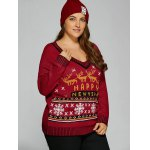 Christmas Elk Plus Size Graphic Sweater deal