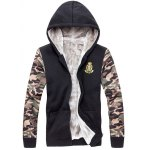 cheap Zip Up Camo Sleeve Patch Hoodie Twinset