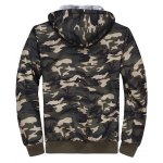 cheap Thermal Zip Up Camouflage Hoodie