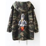 cheap Embroidered Patched Hooded  Camo Utility Coat