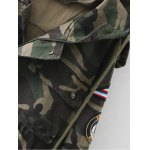 Embroidered Patched Hooded  Camo Utility Coat deal