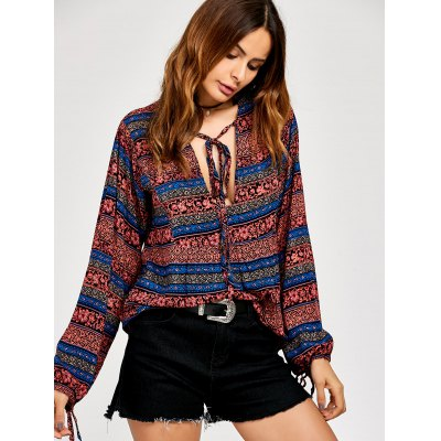 Ethnic Print Lace Up Peasant Blouse