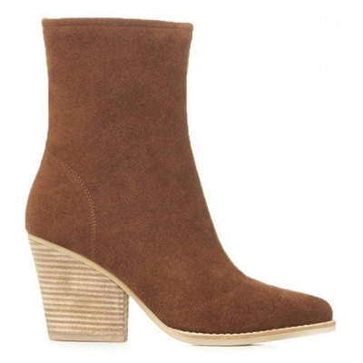 Chunky Heel Pointed Toe Short Boots