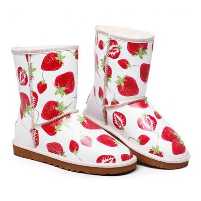 Strawberry Printed Colour Spliced Snow Boots