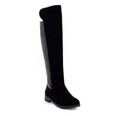 Suede Splicing Knee High Boots