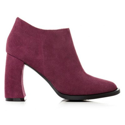 Concise Chunky Heel Suede Ankle Boots