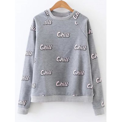 Chill Letter Crew Neck Sweatshirt