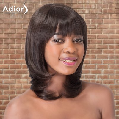 Adiors Medium Straight Oblique Bang Tail Adduction Synthetic Wig