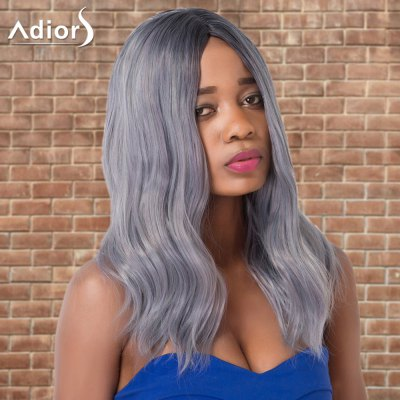 Adiors Long Slightly Curled Middle Parting Ombre Synthetic Wig