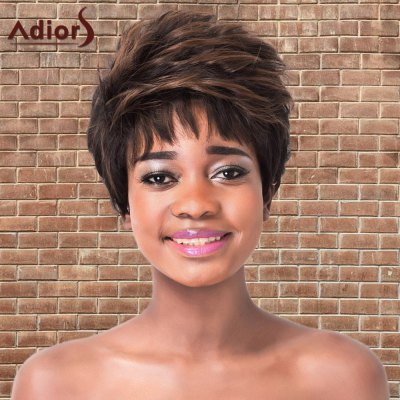 Short Highlights Fluffy Straight Synthetic Wig