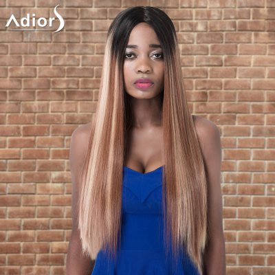 Adiors Long Straight Highlight Centre Parting Synthetic Wig