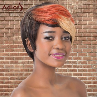 Short Multi Color Side Bang Straight Synthetic Adiors Wig