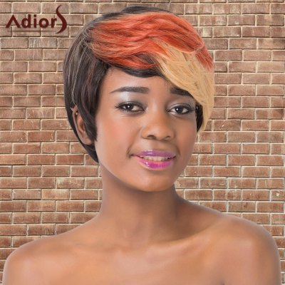 Short Multi Color Side Bang Straight Synthetic Wig
