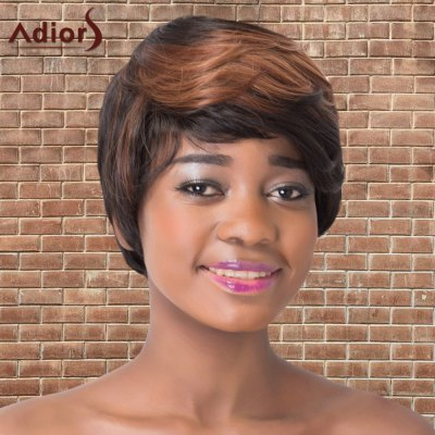 Adiors Short Multi Color Side Bang Straight Synthetic Wig