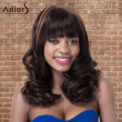 Adiors Highlight Long Shaggy Wavy Neat Bang Synthetic Wig