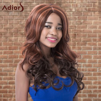 Adiors Long Fluffy Highlight Wavy Side Parting Synthetic Wig