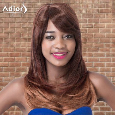 Adiors Long Oblique Bang Straight Tail Adduction Ombre Synthetic Wig
