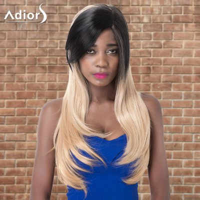 Adiors Long Side Parting Straight Tail Adduction Colormix Synthetic Wig