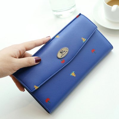 Printed PU Leather Clutch Wallet