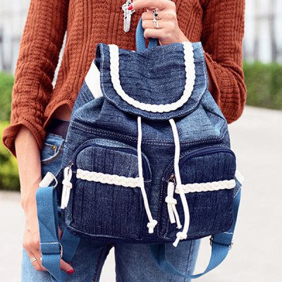 Double Pocket Denim Weaving Backpack