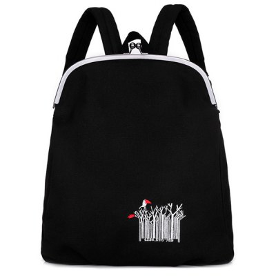 Kiss Lock Closure Embroidery Canvas Backpack