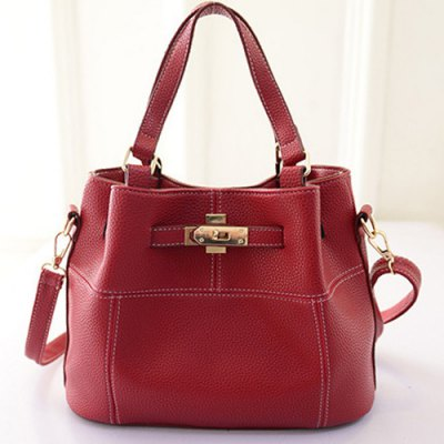 Metal Textured Leather Tote Bag