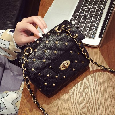 Chains Rivet Quilted Crossbody Bag
