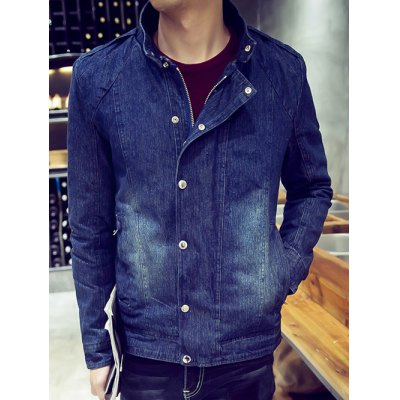 Snap Front Flocking Denim Jacket