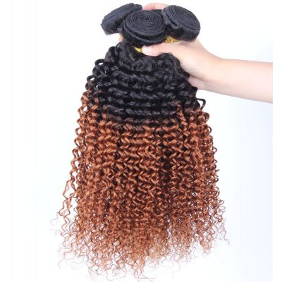 1 Pcs Kinky Curly 6A Virgin Double Color Brazilian Hair Weave