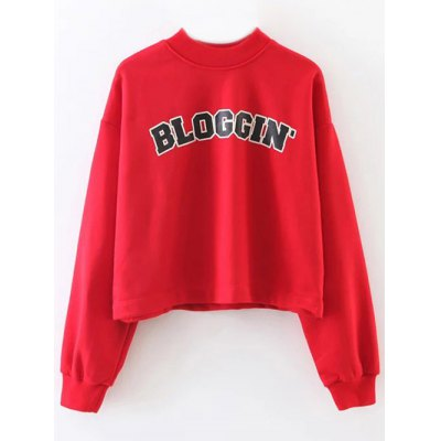 BLOGGING Letter Cropped Sweatshirt