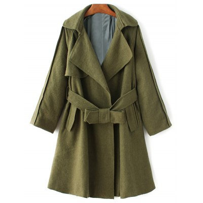 Lapel Collar Wool Blend Wrap Coat
