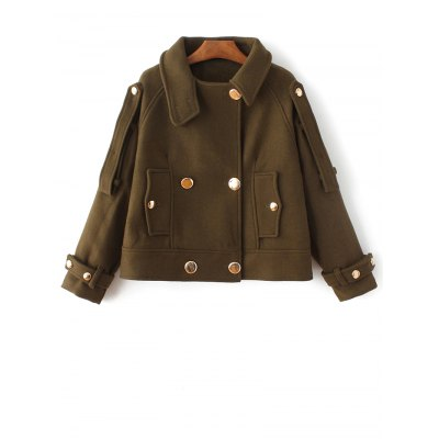 Wool Blend Cropped Peacoat