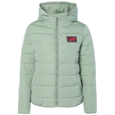 Winter England Flag Embroidery Hooded Down Jacket