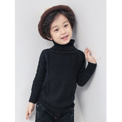 Boys Roll Neck Cable Knitted Sweater