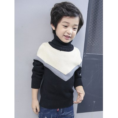 Boys Roll Neck Color Block Sweater