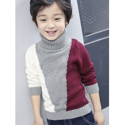 Boys Roll Neck Color Block Panel Sweater