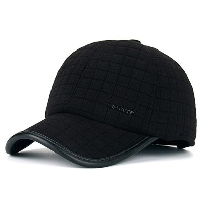 Sport Label Earmuff Plaid Baseball Hat