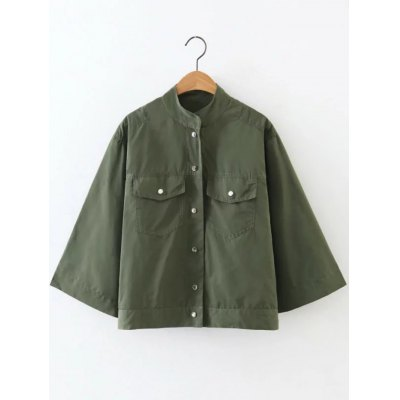 Button Fly Cropped Cape Jacket