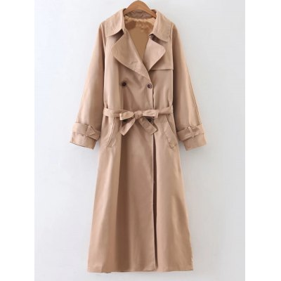Slimming Double Breasted Belted Maxi Wrap Long Trench Coat