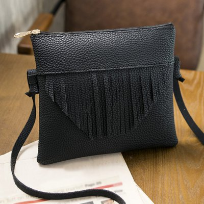Fringe Textured PU Leather Cross Body Bag