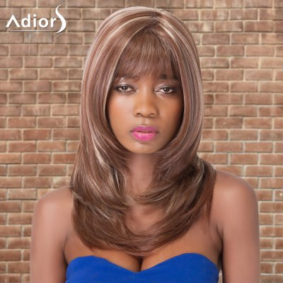 Adiors Long Highlight Straight Inclined Bang Tail Adduction Synthetic Wig