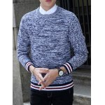 cheap Knit Blends Stripe Splicing Long Sleeve Sweater