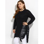 High Low Ripped Plus Size Crew Neck Sweater deal