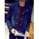 cheap Snap Front Stand Collar Flocking Denim Jacket