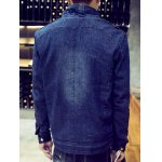 Snap Front Stand Collar Flocking Denim Jacket deal